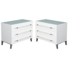 Custom Modern White Chests with Ribbed Facade