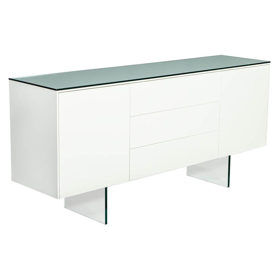 Custom Modern White Lacquered Sideboard Buffet with Glass Features