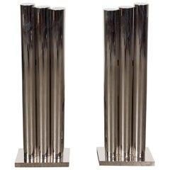 Custom Modernist Art Deco Revival Tubular Polished Nickel Andirons