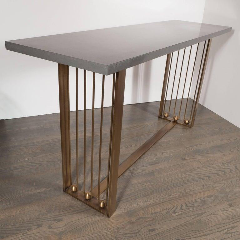 Custom Modernist Brushed Brass and Grey Limestone Console Table In Excellent Condition For Sale In New York, NY