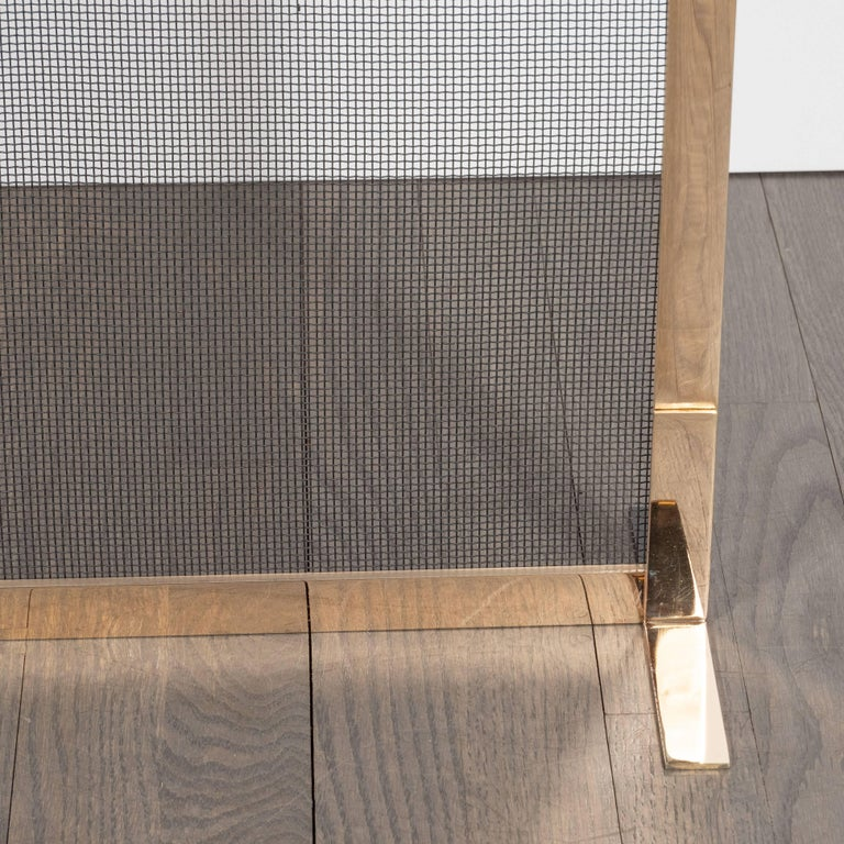 American Custom Modernist Fire Screen in Polished Brass with Iron Mesh Grill For Sale