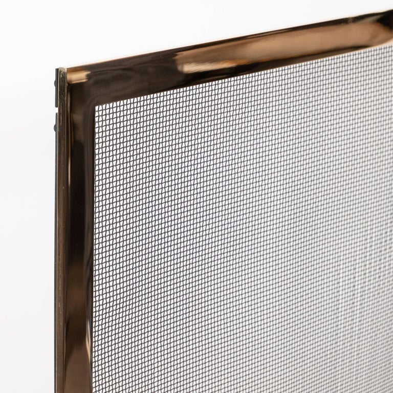Contemporary Custom Modernist Fire Screen in Polished Brass with Iron Mesh Grill For Sale