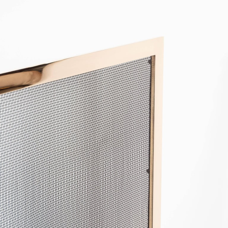 Custom Modernist Fire Screen in Polished Brass with Iron Mesh Grill For Sale 1