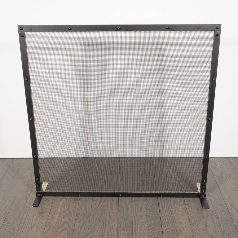 Custom Modernist Fire Screen in Polished Brass with Iron Mesh Grill For Sale 3