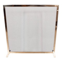 Custom Modernist Fire Screen in Polished Brass with Iron Mesh Grill