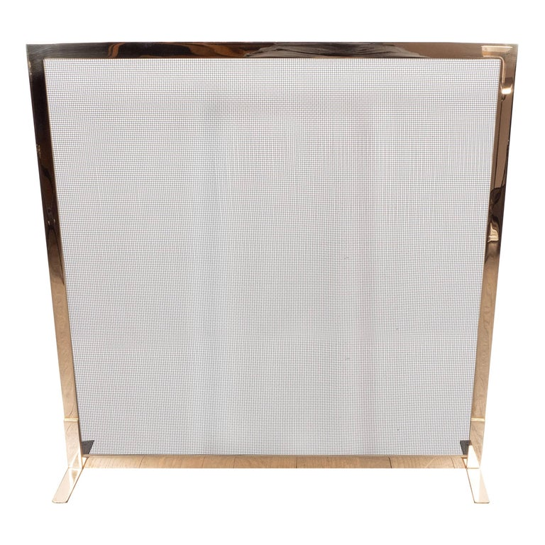 Custom Modernist Fire Screen in Polished Brass with Iron Mesh Grill For Sale