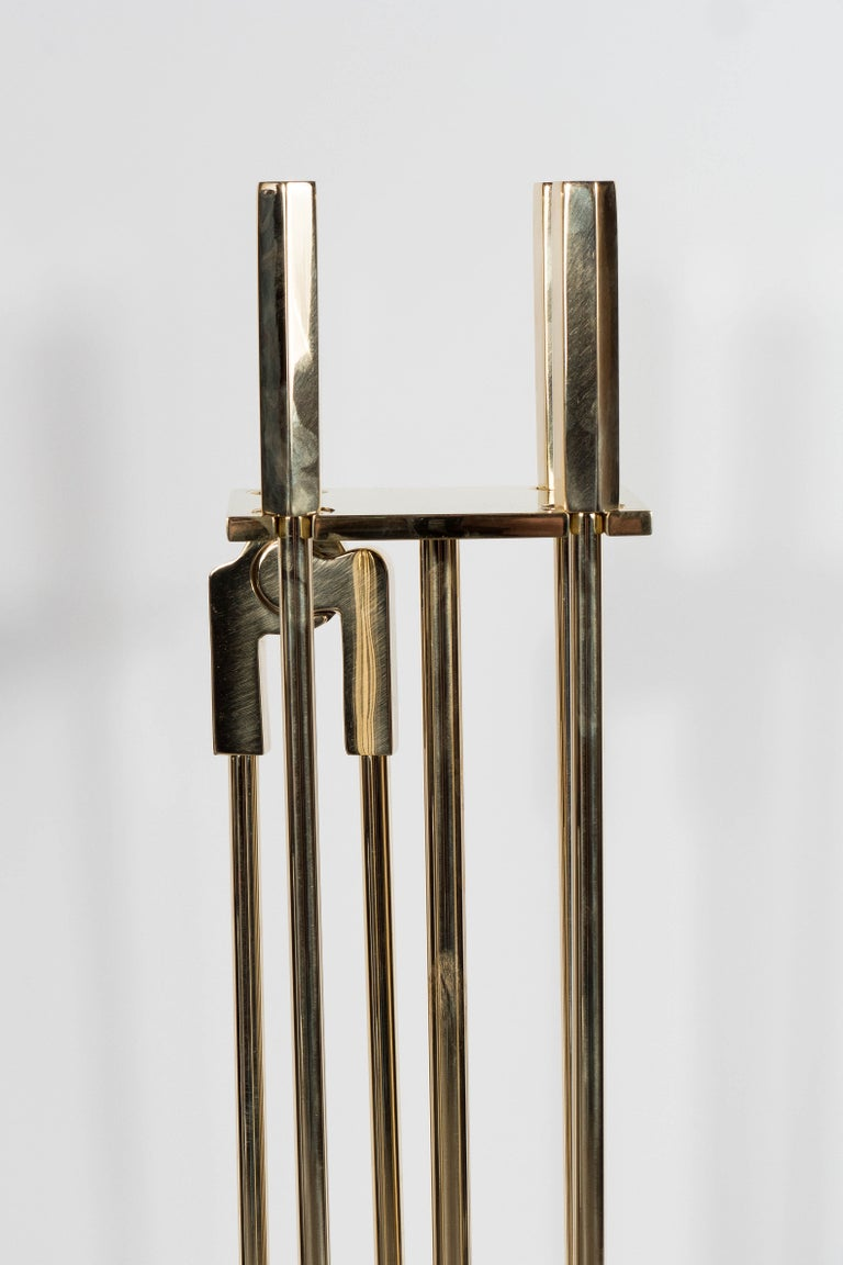 American Custom Modernist Four-Piece Fire Tool Set in Polished Brass For Sale