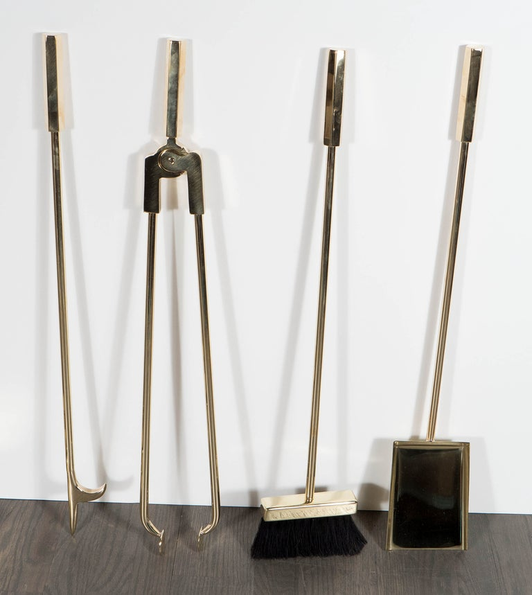 Custom Modernist Four-Piece Fire Tool Set in Polished Brass In Excellent Condition For Sale In New York, NY