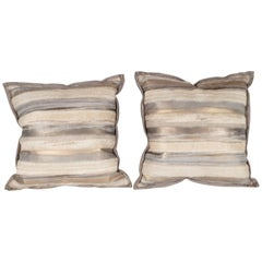 Custom Modernist Horsehide and Ultra Suede Banded Pillows in Metallic Tones