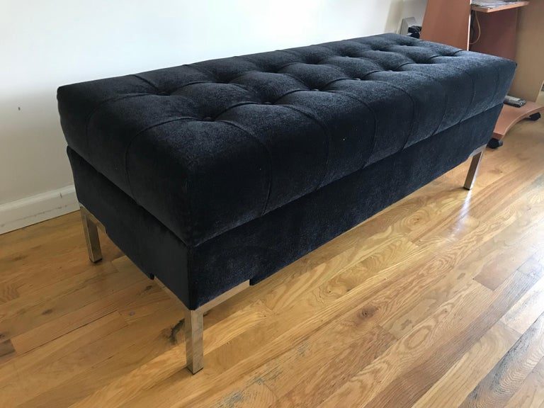 Custom integrated leg mohair midcentury style bench, shown in rich dark charcoal mohair, with buttons and seaming. And chrome legs. Available in any size custom made to order COM / COL. Legs can be brass, nickel or chrome or any powder coat color