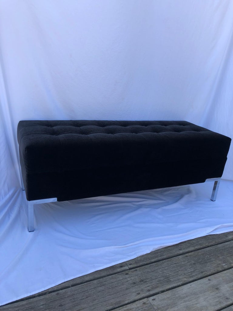 Chrome Custom Mohair Bench For Sale