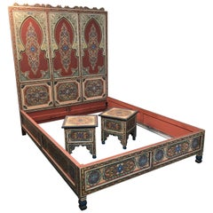 Custom Monumental Moroccan Queen Bed and Matching Nightstands
