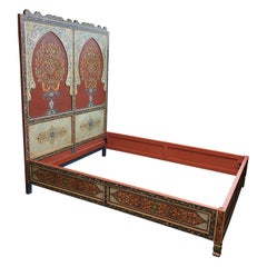 Custom Monumental Moroccan Queen Bed Frame and Nightstands