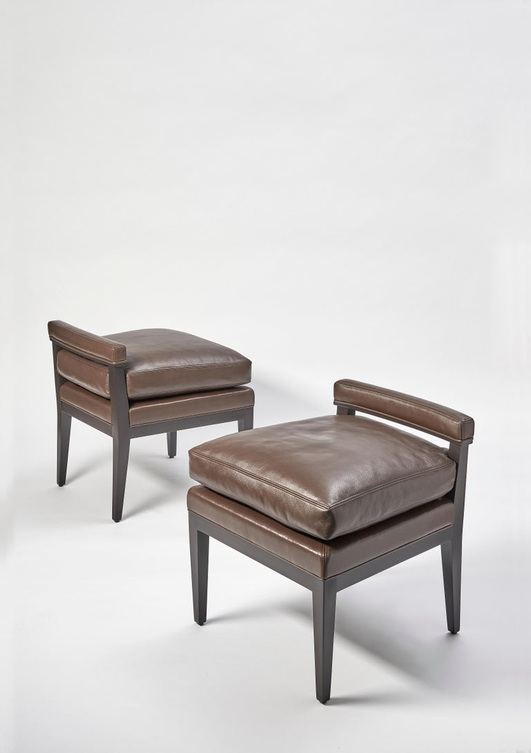 """Seat height 20"""" H. COM: 2.5 Yards  Welt: Petite Self-Welt  Finish: Antique black lacquer   Handmade in Chicago by top craftsmen Custom size/finish prices upon request."""