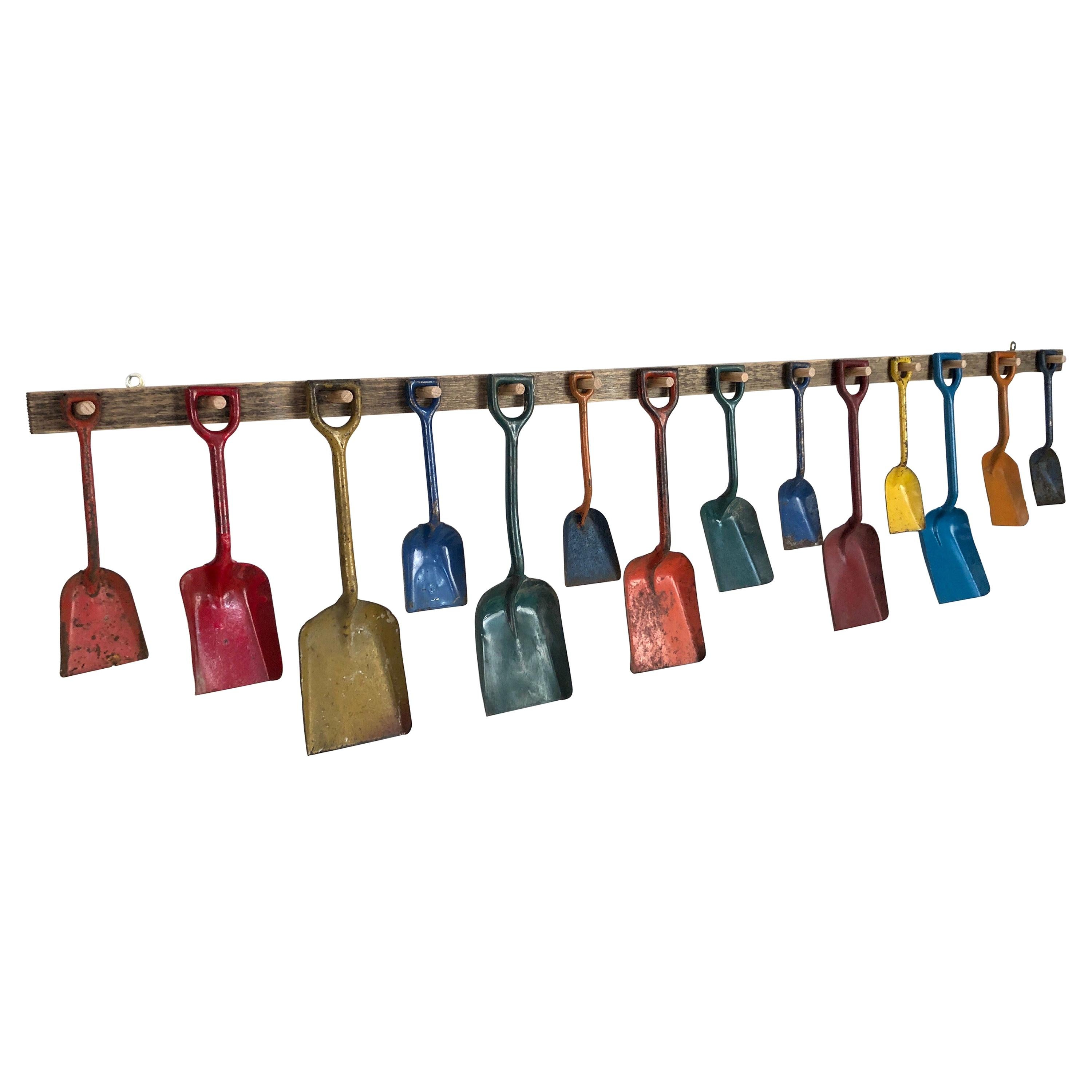 Custom Mounted Antique Child's Colorful Metal Beach Shovel Display
