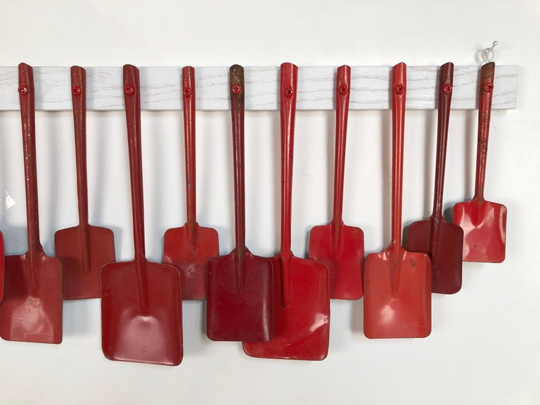 American Custom Mounted Antique Child's Red Metal Toy Beach Shovel Display For Sale