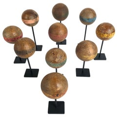 Custom Mounted Collection of Antique Wooden Croquet Balls '10'