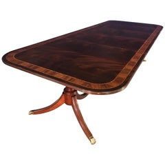 Custom Multi-Banded Mahogany Georgian Style Dining Table by Leighton Hall