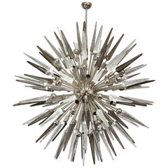 Clear and Smoke Murano Spike Glass Sputnik Chandelier With Metal Spheres