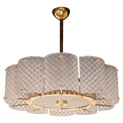 Custom Murano Ivory Pearlized Glass and Brass Round Chandelier, Italy, 2020