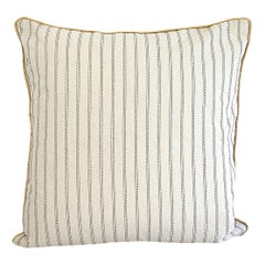 Custom Natural and Navy Ticking Stripe Pillow with Braided Jute Cord