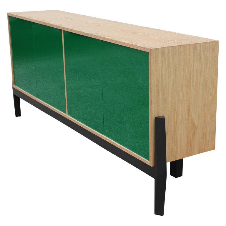 Minimalist Custom Modern Sideboard or Credenza with Green Lucite Doors For Sale