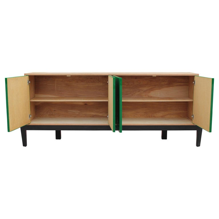 American Custom Modern Sideboard or Credenza with Green Lucite Doors For Sale