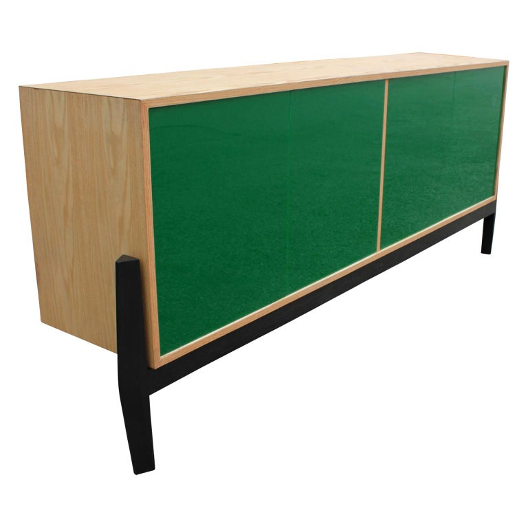 Custom Modern Sideboard or Credenza with Green Lucite Doors For Sale