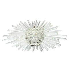 Custom Nickel and Glass Flush Mount Fixture in the Manner of Bakalowits