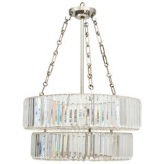 Custom Nickel-Plated and Crystal Chandelier in the Art Deco Manner