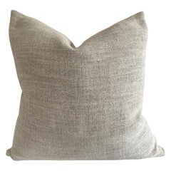 Custom Nubby Gray Linen Accent Pillow with Down Feather Insert