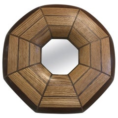 Custom Oak and Walnut Illuminated Mirror
