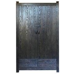 Custom Oak Cabinet with Pocket Doors