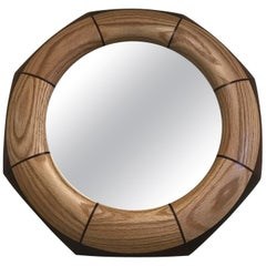 Custom Octagonal Walnut and Oak Inlay Mirror