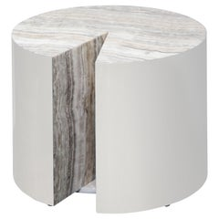 Custom Onyx and Wrapped Stainless Steel Side Table