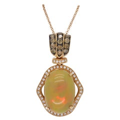 Custom Opal and Diamond Necklace in 18 Karat Rose Gold