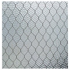 Custom Order 1920s 'Pebbled' Vintage Chicken Wire Glass 2 Pieces