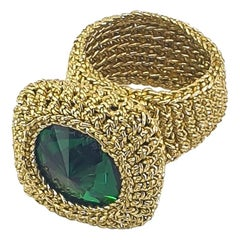 Custom Order Crochet Cocktail Ring Vintage Swarovski Emerald Green Crystal