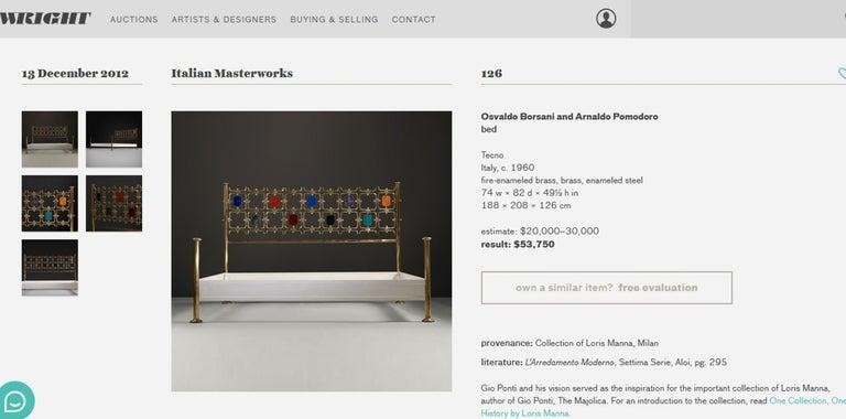 Custom Order Osvaldo Borsani Bed with a Series of 9 Enameled Sculptures, 1958-60 For Sale 8