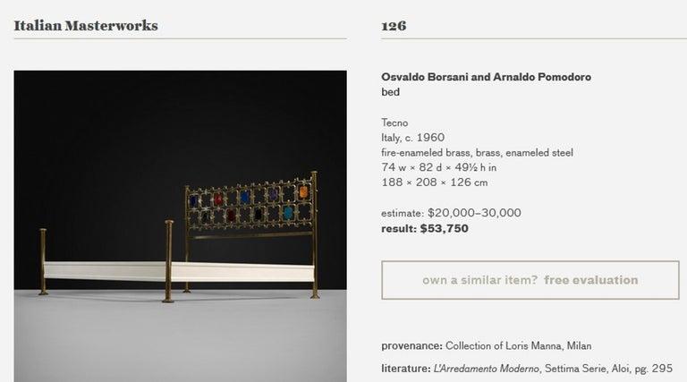 Custom Order Osvaldo Borsani Bed with a Series of 9 Enameled Sculptures, 1958-60 For Sale 9