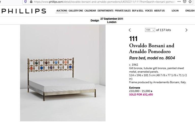 Custom Order Osvaldo Borsani Bed with a Series of 9 Enameled Sculptures, 1958-60 For Sale 10