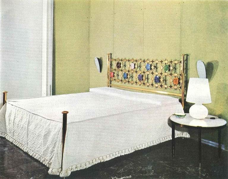 Custom Order Osvaldo Borsani Bed with a Series of 9 Enameled Sculptures, 1958-60 For Sale 12