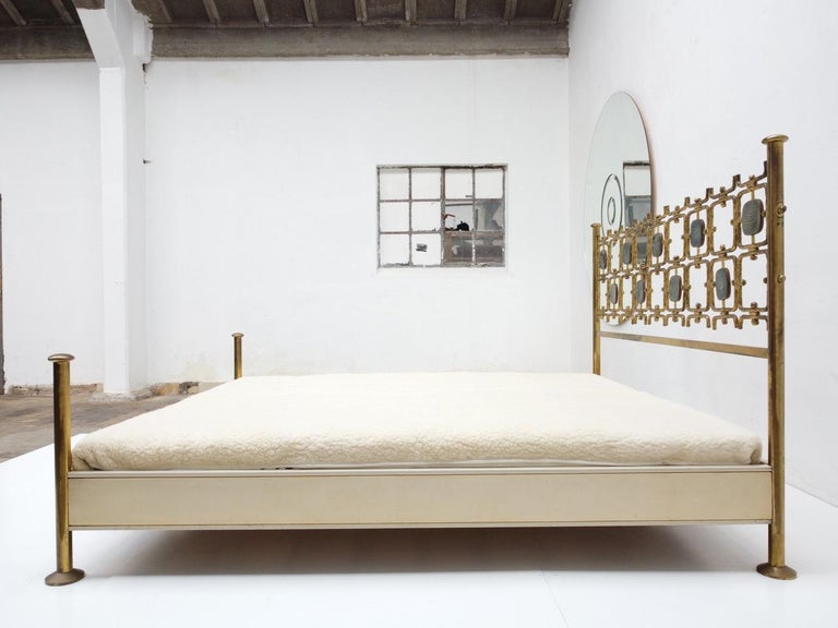 Mid-Century Modern Custom Order Osvaldo Borsani Bed with a Series of 9 Enameled Sculptures, 1958-60 For Sale