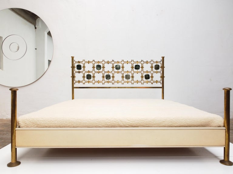Cast Custom Order Osvaldo Borsani Bed with a Series of 9 Enameled Sculptures, 1958-60 For Sale