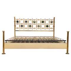 Custom Order Osvaldo Borsani Bed with a Series of 9 Enameled Sculptures, 1958-60