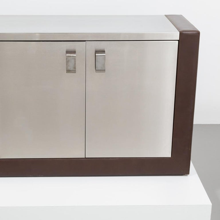 Late 20th Century Custom Order Paul Evans Steel and Leather Cabinet, Late 1970s For Sale