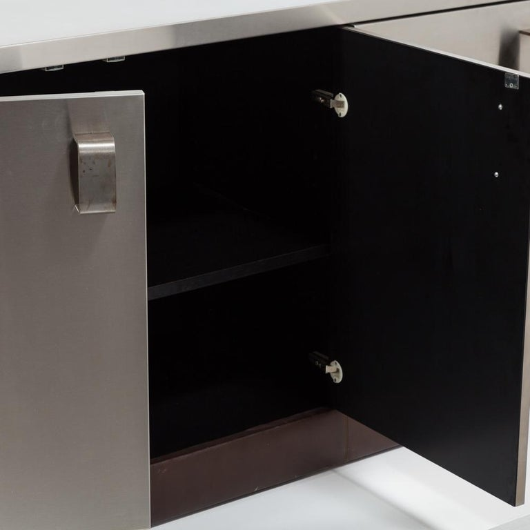 Custom Order Paul Evans Steel and Leather Cabinet, Late 1970s For Sale 1