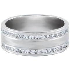 Custom Order: Round Diamond and Platinum Men's Wedding Band