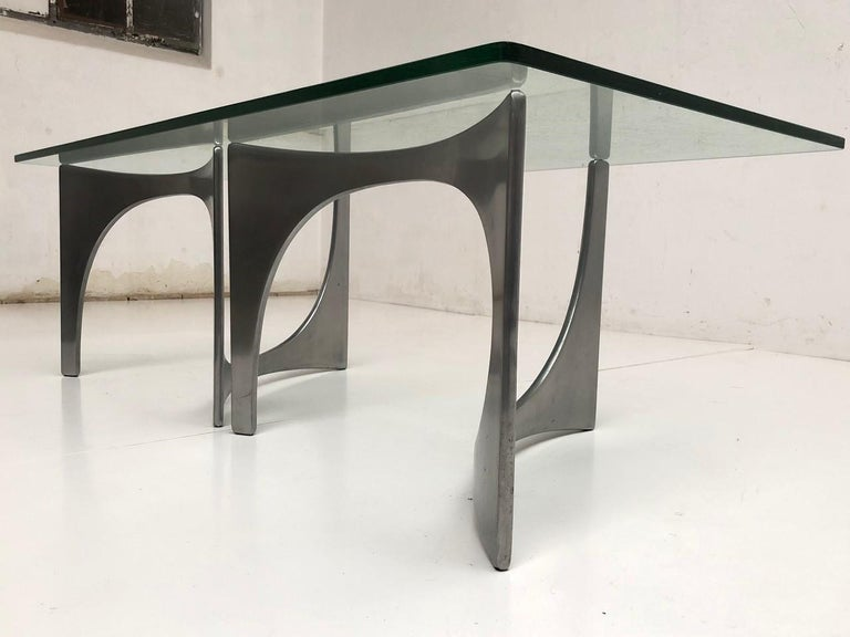 Beautiful and unique, custom order, sculptural form side table by German sculptor Knut Hesterberg , the twin sculptural elements can be arranged to taste to create many possible spatial relationships and are formed from high pressure die cast