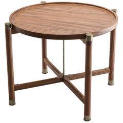 Custom Otto Round Side Table in Lt Walnut with Antique Brass Fittings and Stem